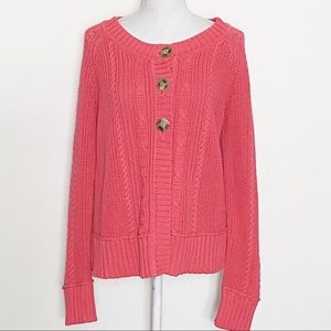 EDDIE BAUER-Cable Knit Cardigan. Size XL